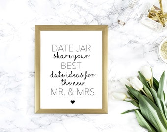 8.x x 11 Date Jar Wedding Sign - Date Ideas Sign -  Best Date Ideas- Marriage Date Ideas Sign - Share Your Best Date Idea - Reception Sign