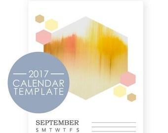 2018 Calendar Templates - 2018 Desk Calendar - Honeycomb Photo Desk Calendar - DIY Printable Calendar - 5x7 Desk Calendars - PhotoShop