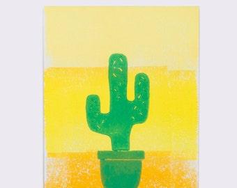 Post Card Linolschnitt drucken. Kaktus