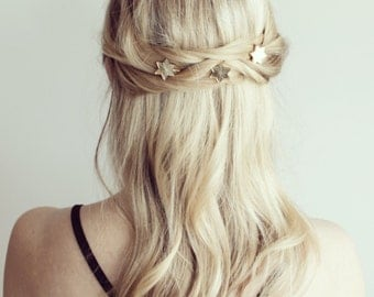 Gold or silver star shaped hair grips/slides/bobby pins wedding festival