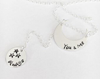 Moon Stars Necklace, Gift For Girlfriend, Gift For Her, Luna Phase Moon Necklace, Hand Stamped Inspiration, Hand Stamped Moon Necklace