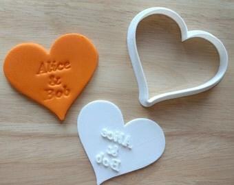 Emporte-pièce forme personnalisé et jeu de timbres. Emporte-pièce forme de mariage. Imprimée en 3D. Cuisson des cadeaux. Cookies personnalisés. Maman vie présente