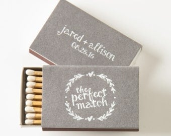 HEART WREATH Matchboxes - Wedding Favors, Wedding Matches, Wedding Decor, Personalized Matches, Custom Matchboxes, Rustic Wedding, Match Box