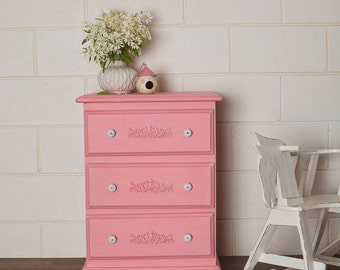 Newly Refurbished Vintage Coral Pink Bedside Table Drawers Dresser