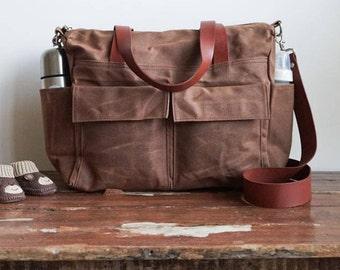 Waxed canvas bag, 9 pocket diaper bag, Waxed canvas diaper bag, Waxed canvas tote, Canvas tote bag, Leather canvas bag, Gingerbread