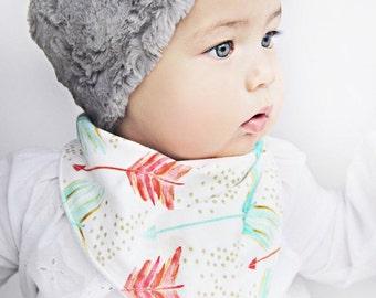 Organic mint and coral Baby bandana bib. Hipster Bibdana baby girl