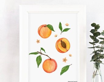 Art print with peaches, fruit print, illustration by Joannie Houle