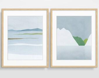 Wall Art Set, Scandinavian Prints, Modern Abstract Art Print Set, Living Room Decor, Abstract Landscape, Set of 2