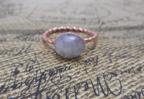 Copper Electroformed Moonstone Ring, Copper Ring, Rainbow Moonstone - Moonstone Ring - Gemstone Ring - Rustic Ring