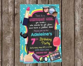 Glam Birthday Invitations - Fashion Show - Girls Birthday Party - Makeup - Makeovers - Beauty Salon - Custom - Pink - Teal - Nails
