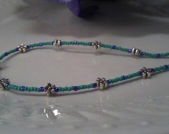 Beaded Anklet, Minimalist Anklet, Seed Bead Anklet, Blue Anklet, Tibetan Silver Anklet, friendship anklet