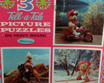 3 Tell-A-Tale Picture Puzzles On Heavy Board/ Bears In Action/Whitman Made In USA