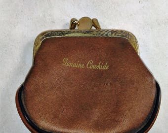 Vintage Genuine Cowhide 2 Seperate Chambers/Change/Bill Purse/ In Great Condition (D)