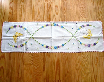 Vintage Handmade Butterfly and Flower Runner Tablecloth