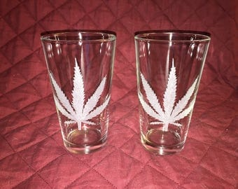 2 Hand Etched Pot Leaf Pint Glasses!