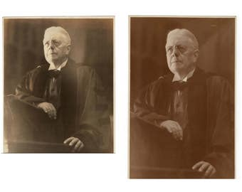 Two large photos of a judge