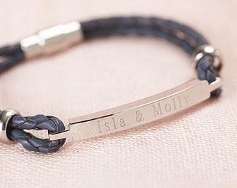 Personalised Women's Leather Identity Bracelet in Berry