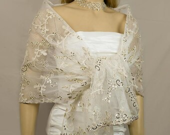 Vintage Ivory Gold Embroidered Lace Wedding Shawl, Bridal Wrap, Bridal Wedding Scarf,  Lace Bridesmaid Shawl,Dress Cover up-SF005