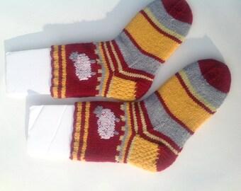 Sheep socks, thick Handknit slipper socks, sheep motif, maroon, gold and gray stripes.