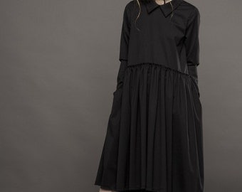 Oversized dress / Classic collar dress / Drop waist dress / Raw hem dress / Classic collar dress