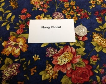 Navy Floral Fabric - 2 Yards