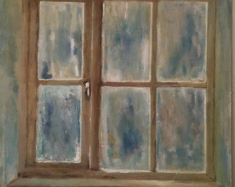 """Window IV original oil painting - 12""""x12"""" (30x30 cm) Give Art for Christmas gifts"""