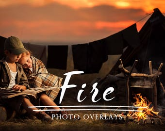40 Fire photo overlays, campfire overlays,  bonfire overlay,  Sparks Photoshop Overlays, photoshop overlays, forest overlays