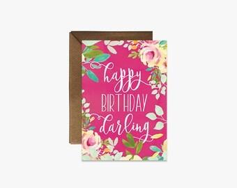 Happy Birthday Darling Card + Kraft Envelopes - Hot pink watercolour floral girls birthday card --- B001
