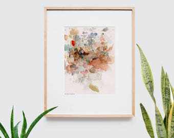 Abstract art composition - Contemporary art - Watercolor Print - Limited edition. Landscape II.