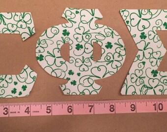 Three Leaf Clover ~ Sigma Phi Sigma Greek Iron On Letters ~ Lucky Charm  ~ Saint Patricks Day