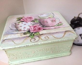 Tea box vintage Shabby chic tea time box...Tea storage