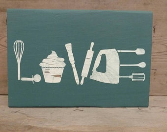 Valentines Day Sign Baking Sign Baking Gift Baking Love Kitchen Signs