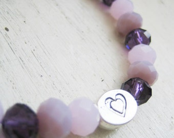 stretchy glass bead bracelet gift for her grandaughter xmas christmas birthday pretty pink  mauve purple love bead charm teen silver metal