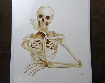 Skeleton coffee art