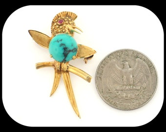 Vintage 14K Yellow Gold Turquoise & Ruby Bird on a Branch BROOCH 1 5/8""