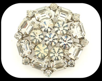 Vintage Glittering Clear Crystal Rhinestone Cluster Round Silver Plated BROOCH