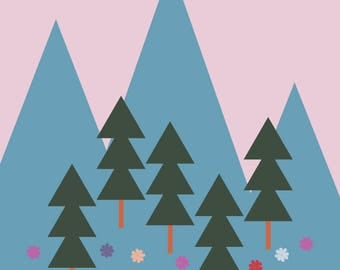 "Wall Art Print, ""Spring Mountain"", Mountain Art, Floral Print, Plant Art, Foliage Print, Modern Wall Art, Pastel Print"