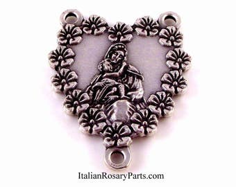 Madonna and Baby Jesus Rose Heart Framed Rosary Centerpiece | Italian Rosary Parts