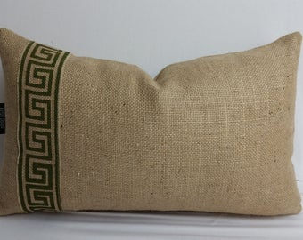 Burlap decorative pillow with Greek key trim, 20 x 12 inches,