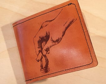 Leather Wallet - Chess Themed with Quote Inside  -  Free Global Shipping