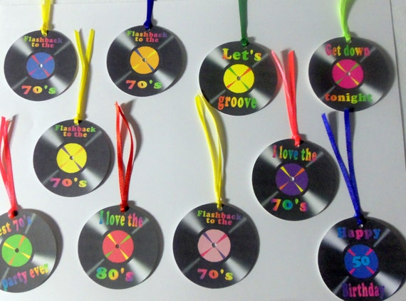 Record album tags, vinyl record tags, album tags, 70's party, 80's party, I love the 70's, I love the 80's, set of 10 tags