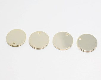 P0046/Anti-Tarnished Gold Plating over Brass/Plain Disk Pendant/12mm/4pcs