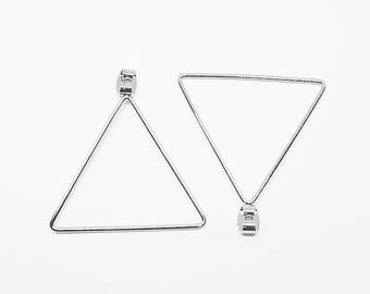 E0146/Anti-Tarnished Rhodium Plating Over Pewter/35mm Large Triangle Earring Back Clutch/35mm/2pcs