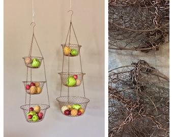 Set Of Two Vintage Three Tier Hanging Baskets / Hanging Wire Baskets /  Vegetable Basket /