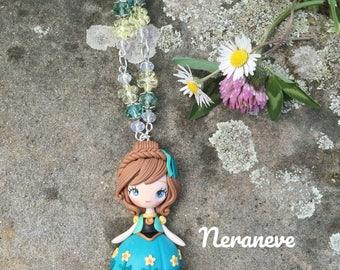Anna Frozen-pendant necklace Disney handmade polymer clay