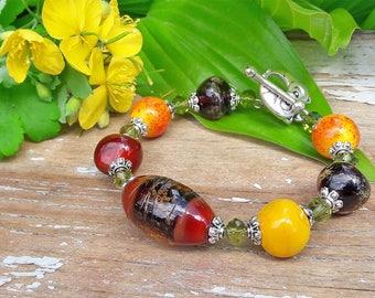 Brown Yellow Lampwork Bracelet, Handmade Artisan Glass Bracelet, Forest Jewelry, Murano, Beadwork Bracelet, Gift For Her, Green, Owl Clasp