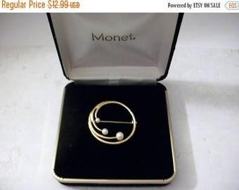 ON SALE Vintage MONET Gold Tone Circular Faux Pearls Original Box Pin 5717