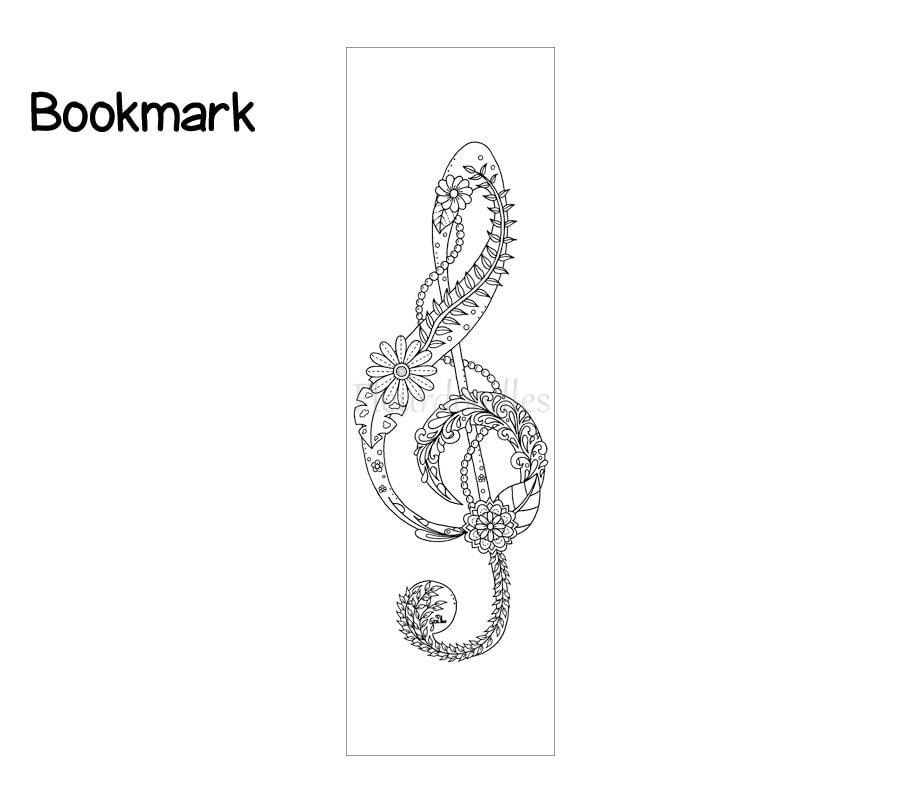 lesezeichen violinschlüssel bücher ausmalseiten malseiten
