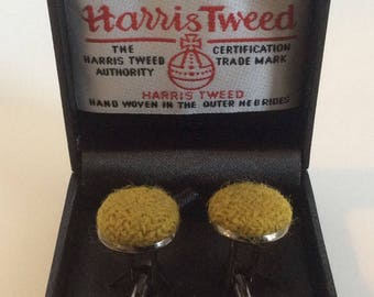 Lime green cufflinks - Green cufflinks - Harris Tweed cufflinks