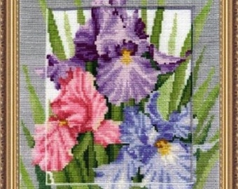 Cross Stitch Kit Create With Your Hands   - Symbols. Wealth - Irises - Flowers cross stitch - Make with Your Own Hands Gift for her